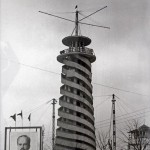 There was a parachute tower in Moscow's Gorky Park where thrill-seekers could float to the ground in the 1930s equivalent of a bungee jump. The spiral in the building was a walkway on which participants would wait their turn.