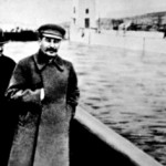 When an important Soviet political figure fell from grace they were literally airbrushed from history - all that is left of Ezhov in this picture is a barely detectable shadow on the water.